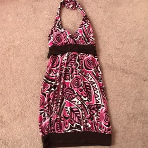 Short halter dress pink, white,brown size small